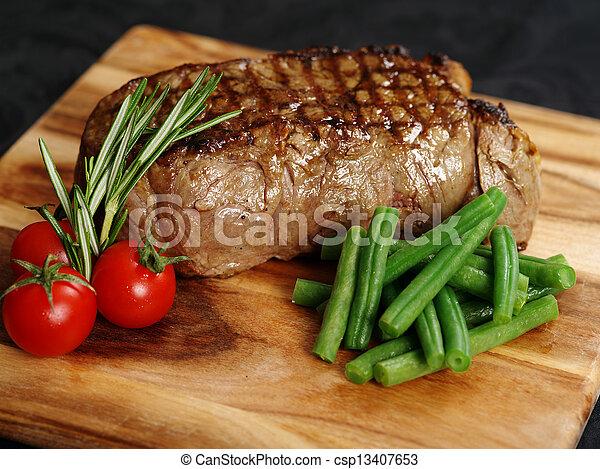 cena, filete, delicioso, solomillo - csp13407653