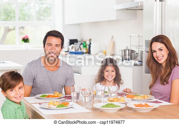 cena, sorridente, famiglia, detenere - csp11974977