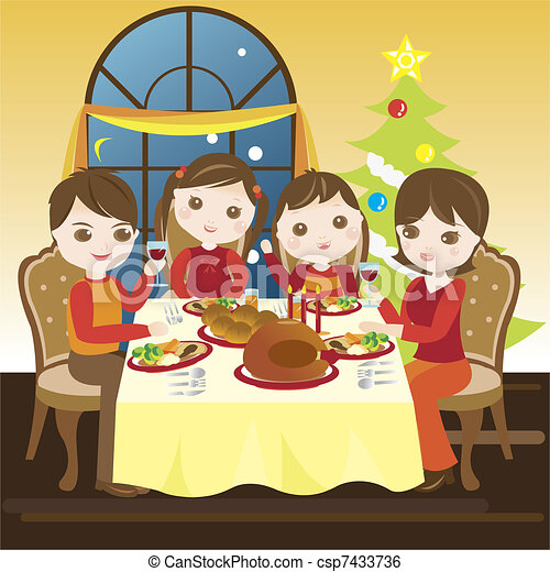 Dibujo de la cena de navidad