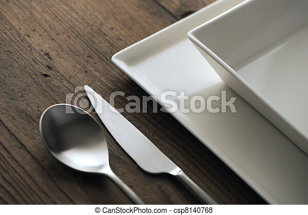 cenando, primo piano, tavola., argenteria - csp8140768