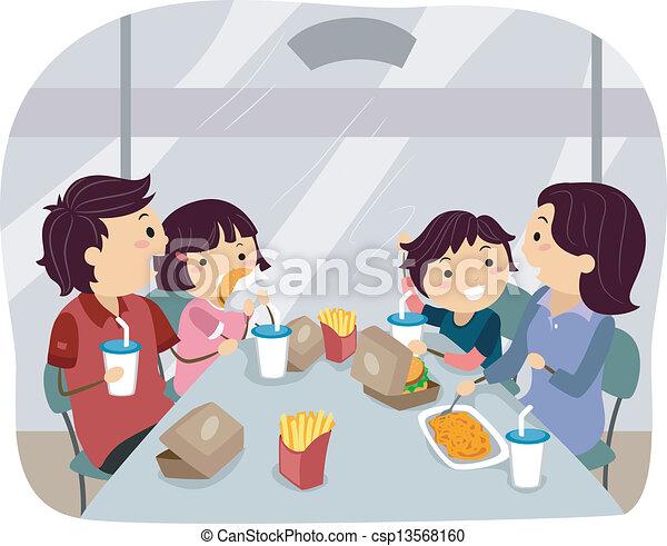 Cena familiar en una comida rápida - csp13568160