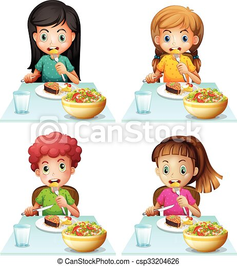 Niños y niñas comiendo en la mesa del comedor - csp33204626