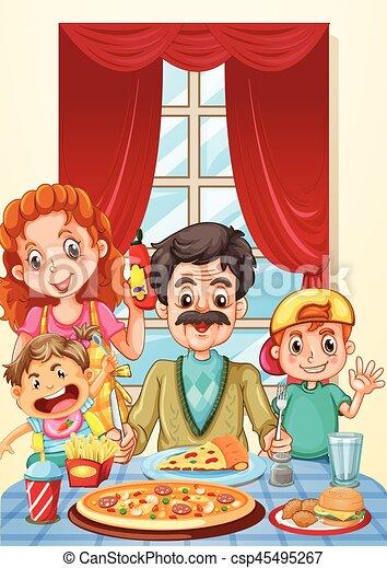 Familia comiendo pizza en la mesa del comedor - csp45495267