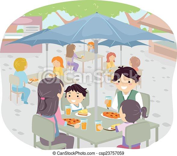 La familia Stickman cena al fresco - csp23757059