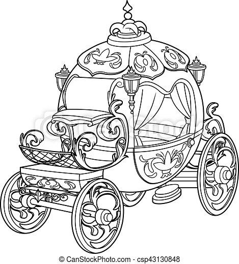 cendrillon, conte, fée, citrouille, voiture - csp43130848