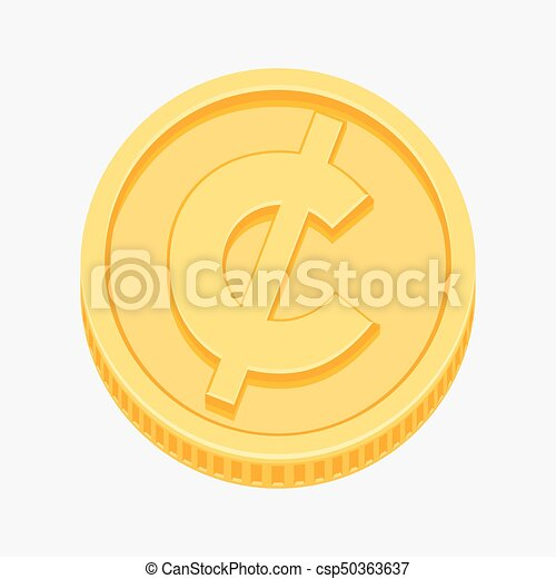 Cent Centavo Peso Currency Symbol On Gold Coin Cent Centavo From
