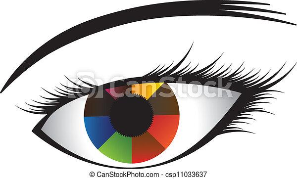 center., ουράνιο τόξο , μάτι , φόντο , γραφικός , αγριόκρινο , σχεδόν , εκδήλωση , δημιούργησα , graphic(girl's, με πολλά χρώματα , μπογιά , μαύρο , εικόνα , ανθρώπινος , eye), άσπρο , κόρη οφθαλμού  - csp11033637