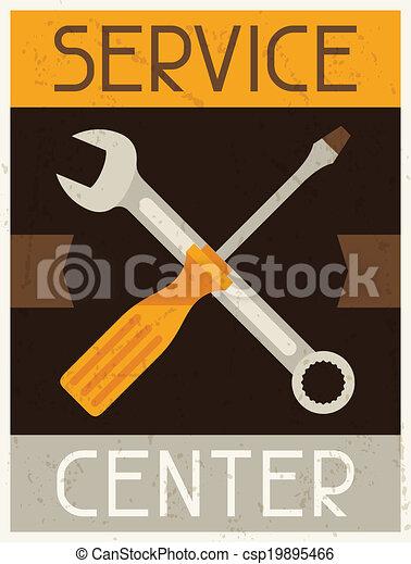 center., apartamento, serviço, cartaz, desenho, retro, style. - csp19895466