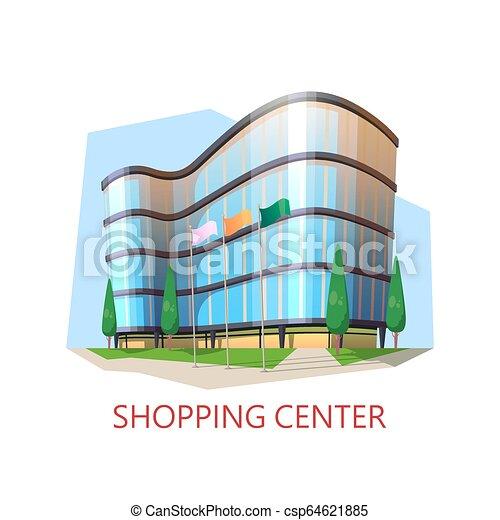 Edificio de supermercado, centro comercial. Un centro comercial moderno - csp64621885