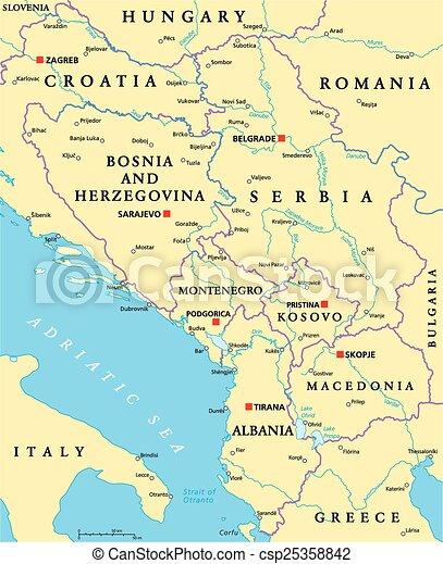 Centraal Balkan Politiek Kaart Albanie Nationale Rivieren