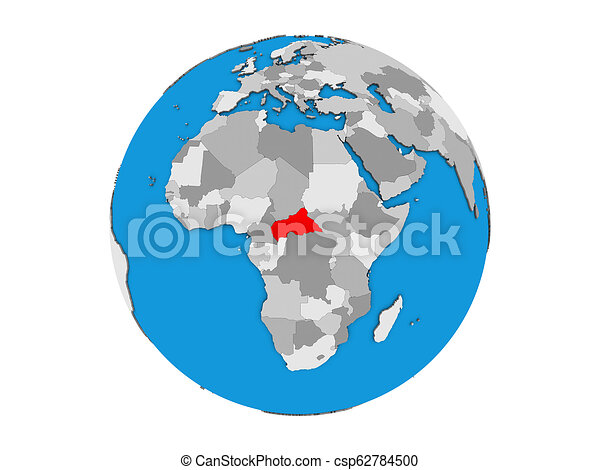 Central Africa on 3D globe isolated - csp62784500