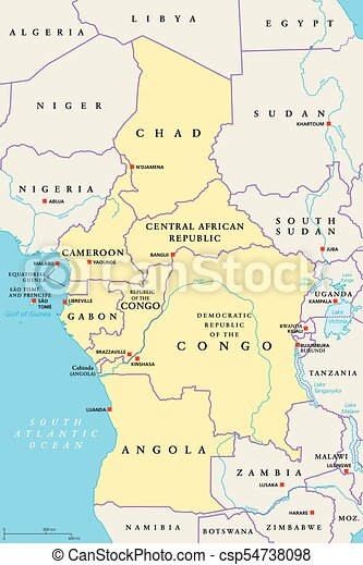Central Africa Region Political Map Area With Capitals Borders