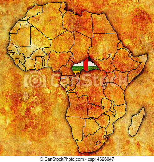 Central African Republic On Actual Map Of Africa Central African
