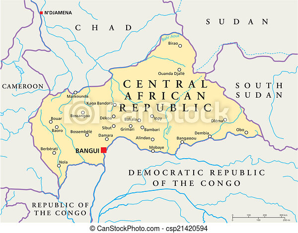 Central African Republic Political Political Map Of Central