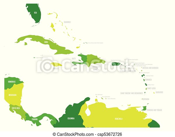 Central america and caribbean states political map in four shades of ...