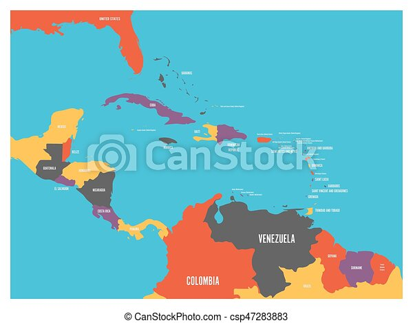 Central America and Carribean states political map with country names labels. Simple flat vector illustration - csp47283883