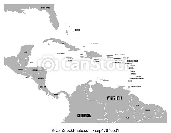 Central america and carribean states political map in of vector central america and carribean states political map in of grey with black country names labels gumiabroncs Images