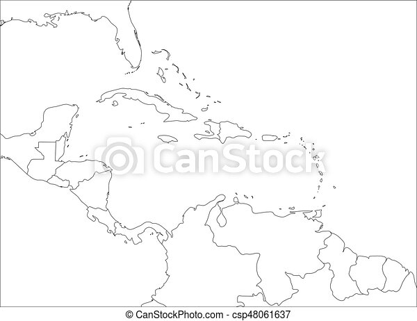 Central America Outline Map Free on