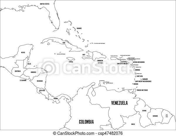 Central America and Carribean states political map. Black outline borders with black country names labels. Simple flat vector illustration - csp47482076