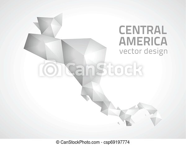 Central America polygonal grey and vector map