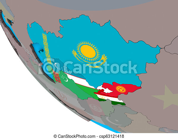 Central Asia with flags on 3D globe - csp63121418