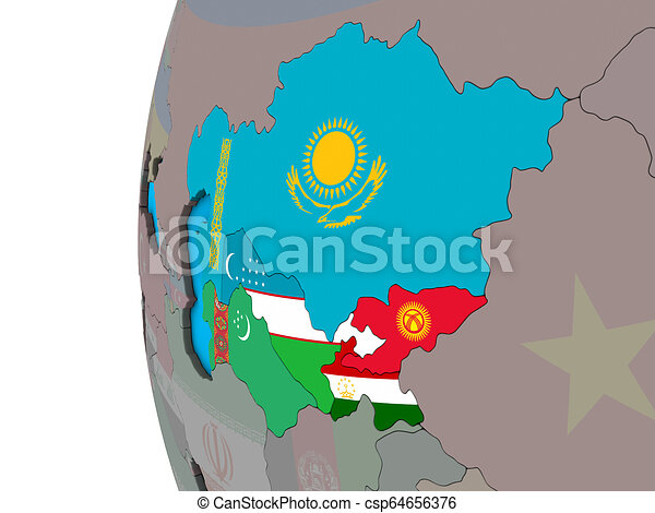 Central Asia with flags on 3D globe - csp64656376