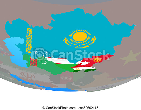 Central Asia with flags on globe - csp62662118