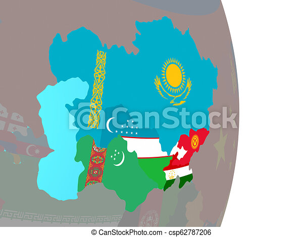 Central Asia with flags on globe - csp62787206