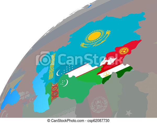 Central Asia with flags on globe - csp62087730