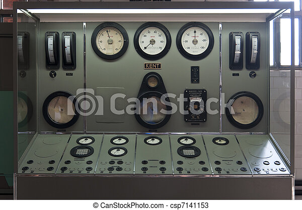 Central dashboard with indicators of thermal water and steam pressure - csp7141153