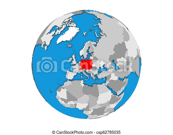 Central Europe on 3D globe isolated - csp62785035