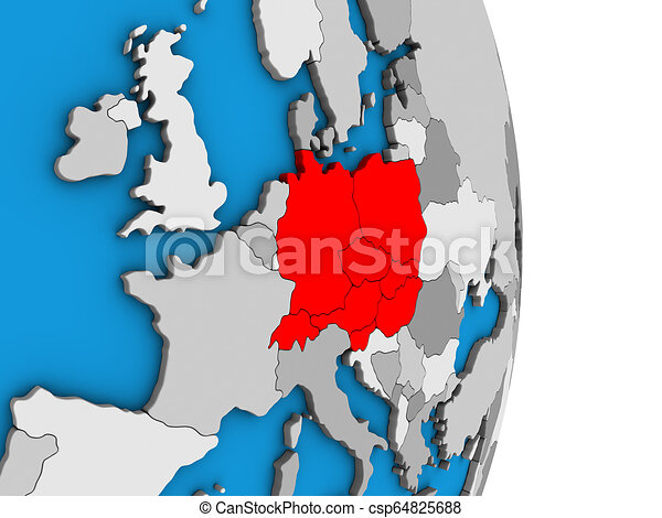 Central Europe on 3D globe - csp64825688