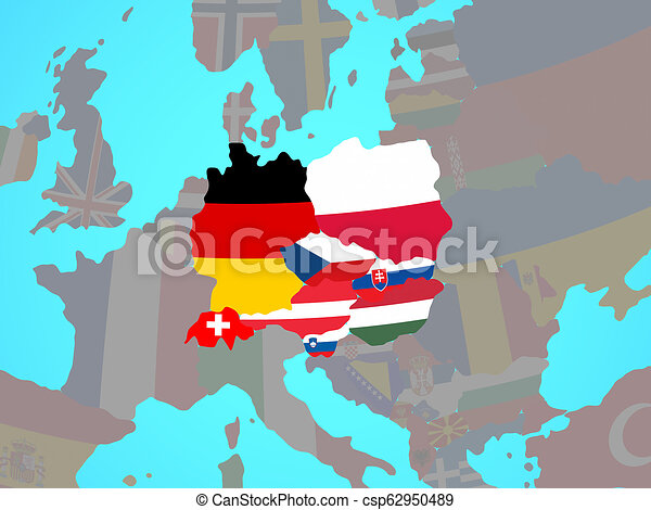 Central Europe with flags on map