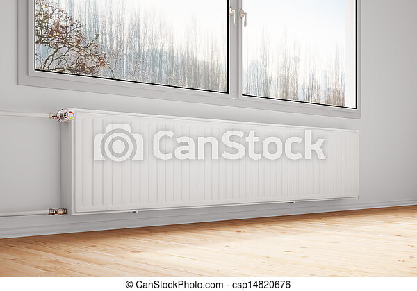 Central heating attached to wall closed windows - csp14820676