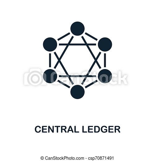 Central Ledger icon. Monochrome style design from blockchain icon collection. UI and UX. Pixel perfect central ledger icon. For web design, apps, software, print usage. - csp70871491