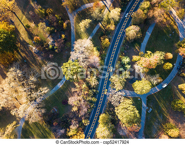 Central park road aerial view in autumn - csp52417924