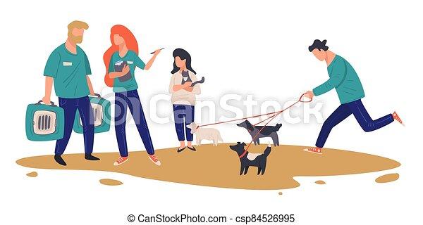 centre, adoption, choisir, vecteur, abri, chouchou, animal, ou - csp84526995