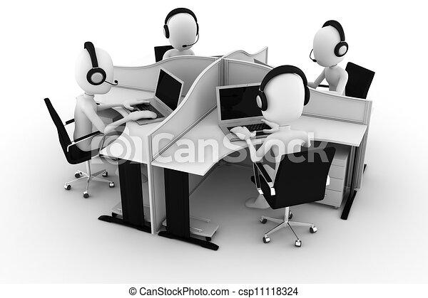 centre, isolé, appeler, blanc, homme, 3d - csp11118324