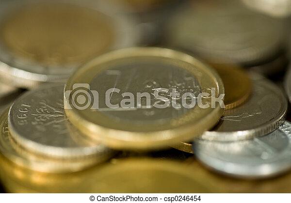 centrera, pengar, fokusera, 1, 015, mynt, euro - csp0246454