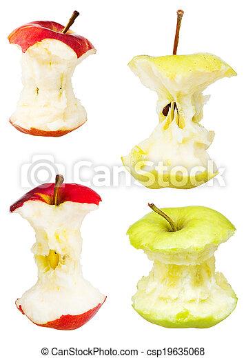 centri, bianco, set, mela, isolato - csp19635068