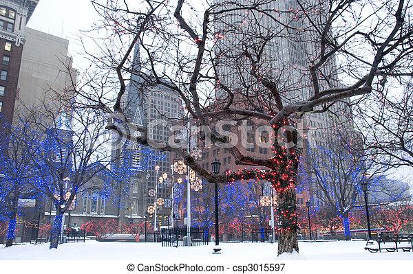centro cidade, ohio, winter., cleveland, durante - csp3015597