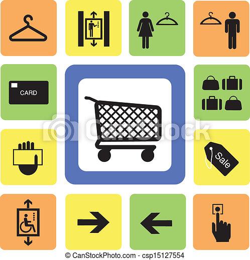Los iconos del centro comercial marcan 2 - csp15127554
