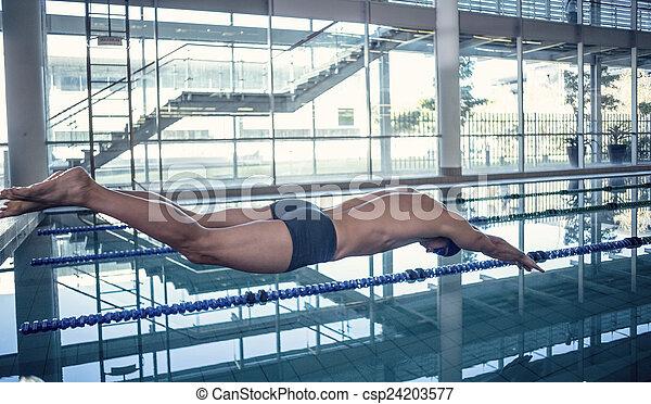 centro, nadador, lazer, mergulhar, lado, piscina, vista - csp24203577