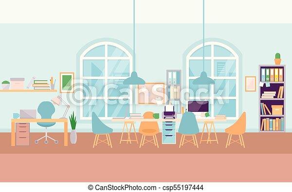 Un escritorio de oficinas interiores vacío y moderno, de la universidad del centro de trabajo - csp55197444