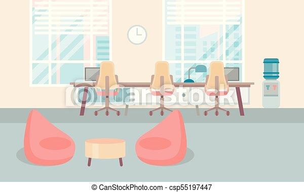 Un escritorio de oficinas interiores vacío y moderno, de la universidad del centro de trabajo - csp55197447