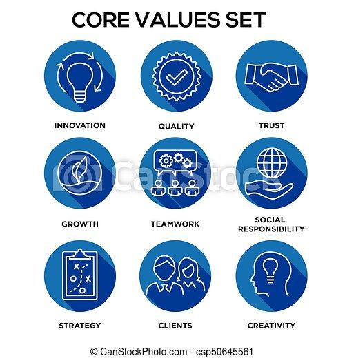 centro, onestà, set, scopo, collaborazione, -, fuoco, valore, passione, visione, valori, missione, integrità, o, icona - csp50645561