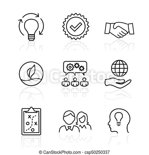 centro, onestà, set, scopo, collaborazione, -, fuoco, valore, passione, visione, valori, missione, integrità, o, icona - csp50250337