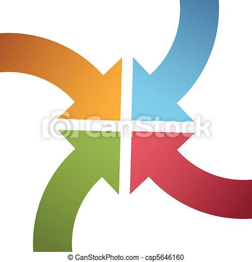 Cuatro flechas de colores curvas convergen el centro - csp5646160