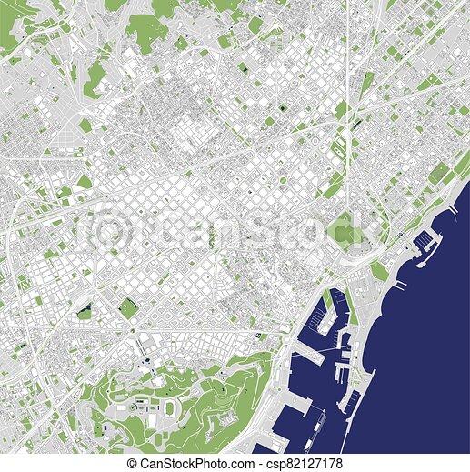 Saragozza Spagna Cartina Geografica.Vettore Centro Spagna Barcellona Mappa Urbana Canstock