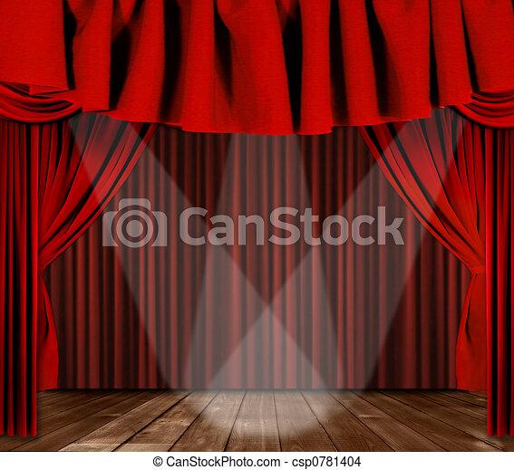 centro, tendaggio, 3, messo fuoco, palcoscenico, riflettori - csp0781404